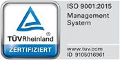 ISO 9001:2015 TÜV Rheinland Zertifiziert